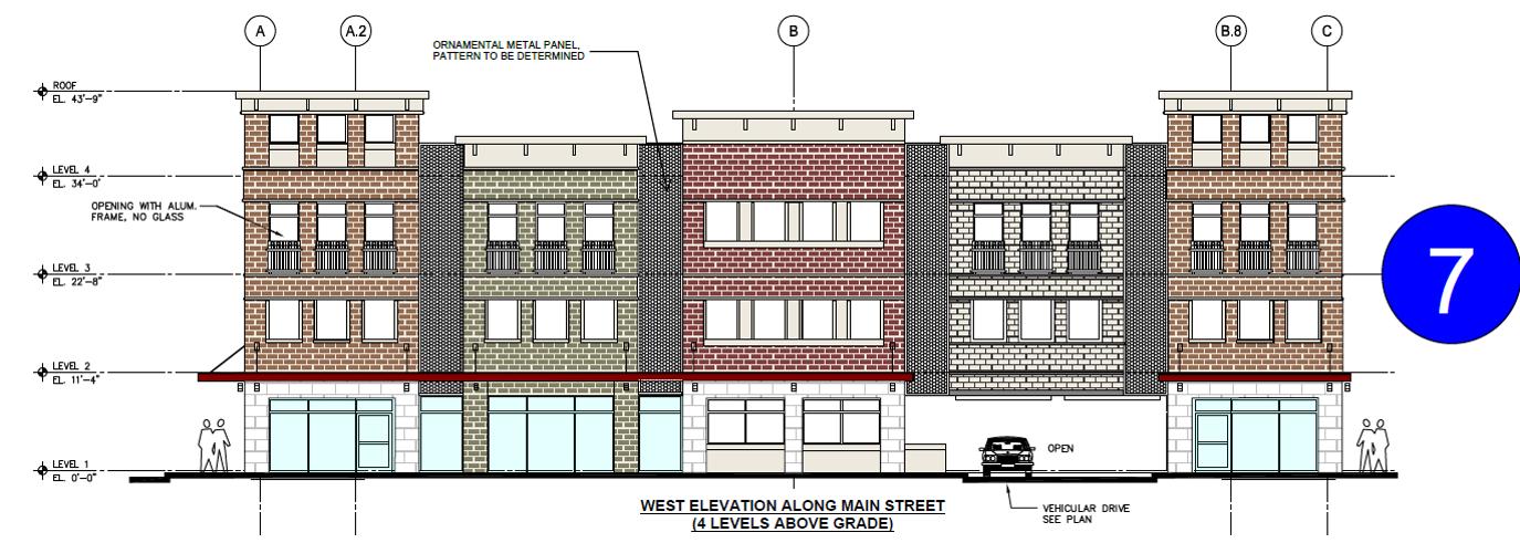 parking garage, Main Street elevation, concept 7